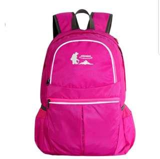New foldable hiking backpack with reflective line waterproof pink