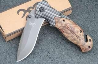 Browning X50 Tactical Folding Pocket Knife Steel Blade Wood Handle Titanium Survival Knives