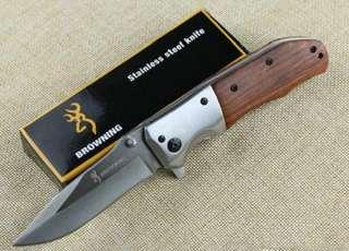 Browning DA51 Steel Tactical Folding Knife 3Cr13Mov 55HRC Wood Handle Hunting Survival Pocket Knife Rescue EDC Hand Tools