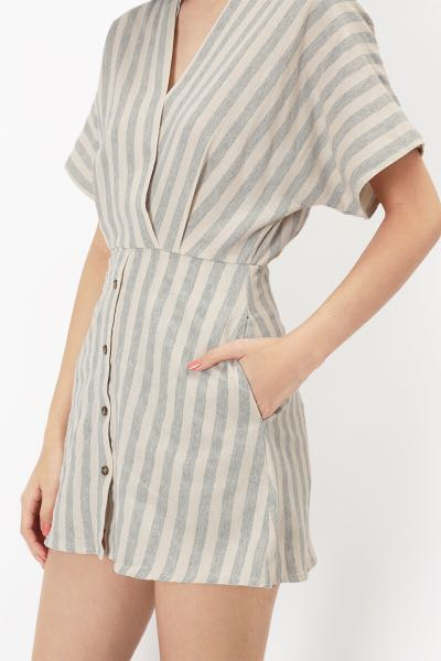 360a7c7489ff Aforarcade - miyo kimono striped romper in heather grey