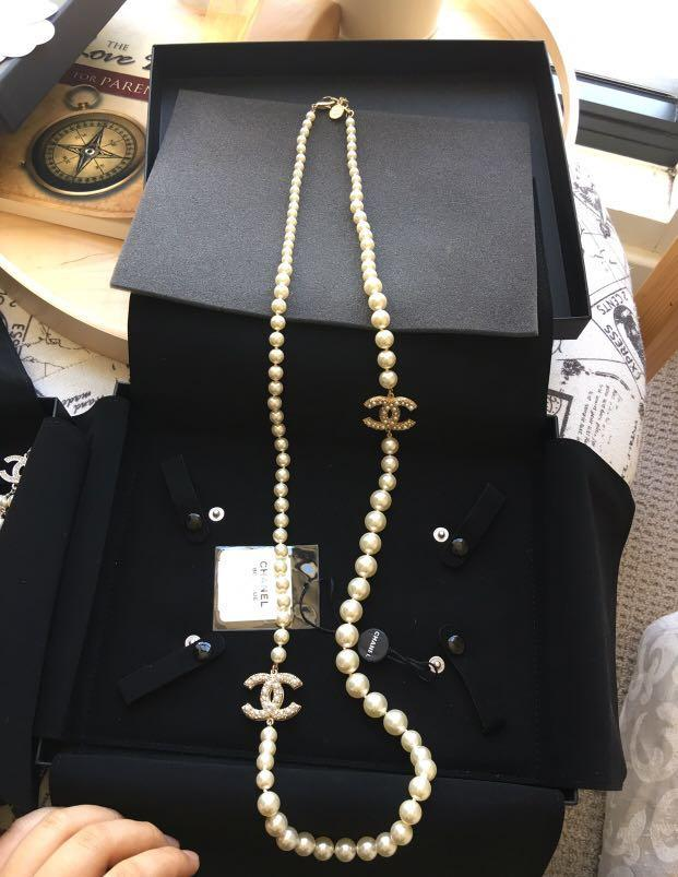 Authentic Chanel Pearl Necklace with Large CC with pearls and crystals