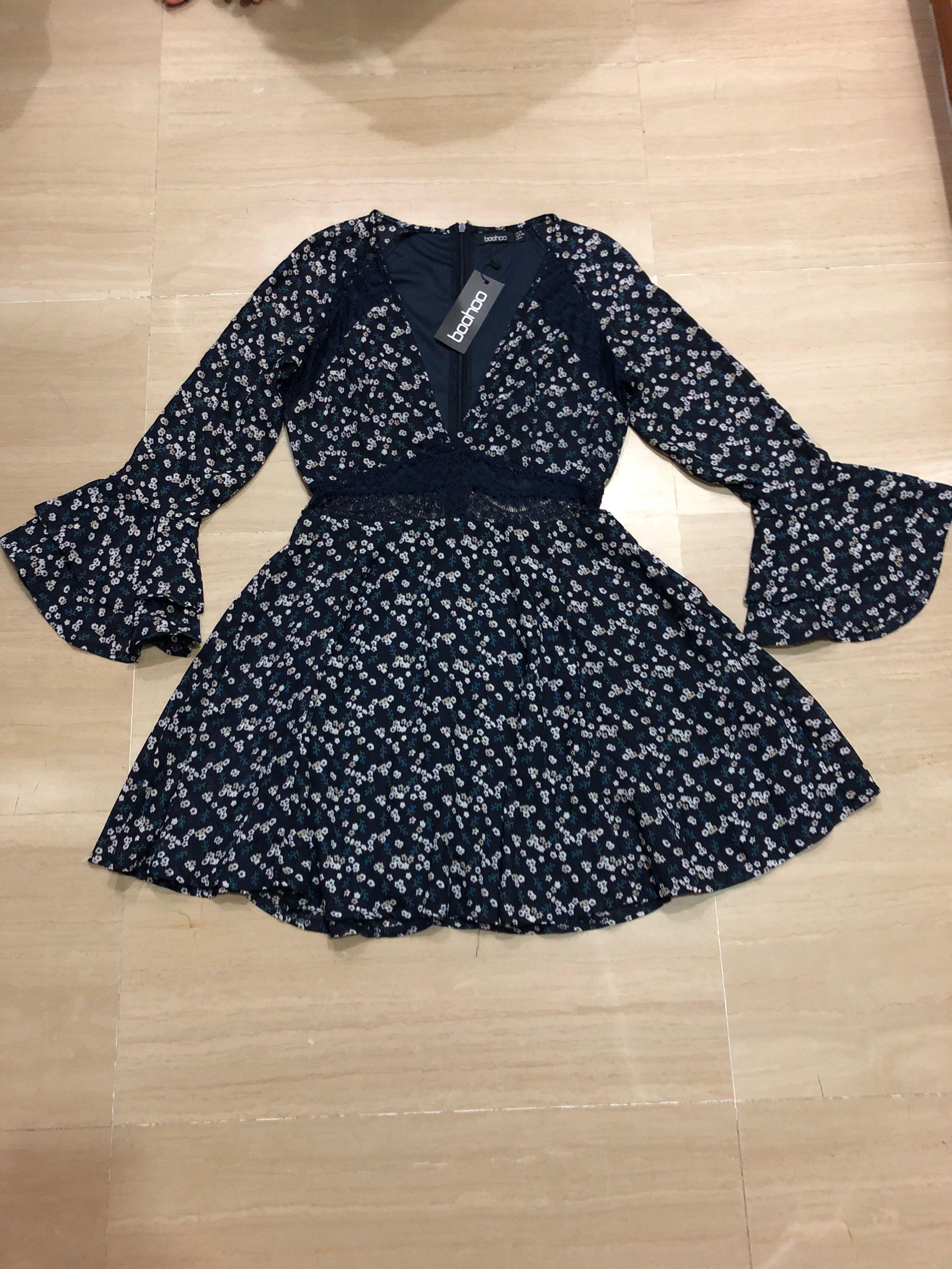 3cca170af2bd Boohoo Floral Lace Insert Skater Dress, Women's Fashion, Clothes ...