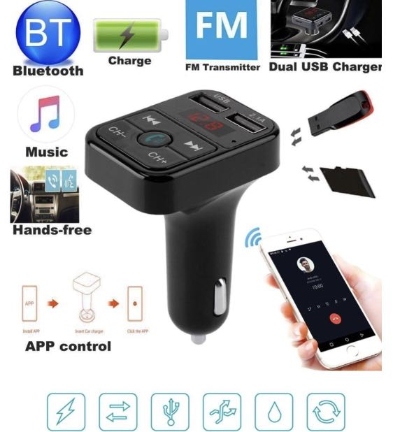 Car FM Bluetooth Memory Card USB Adapter - Play Music Over FM Radio