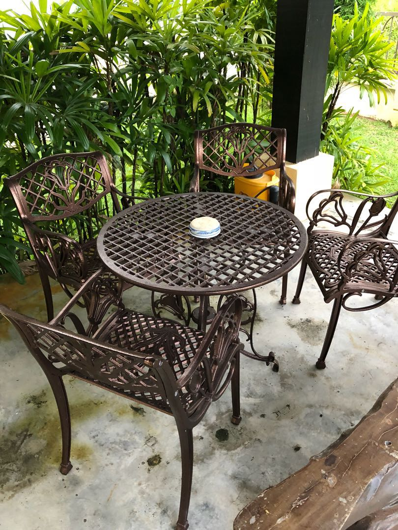 Cast Iron Garden Chair And Table Set