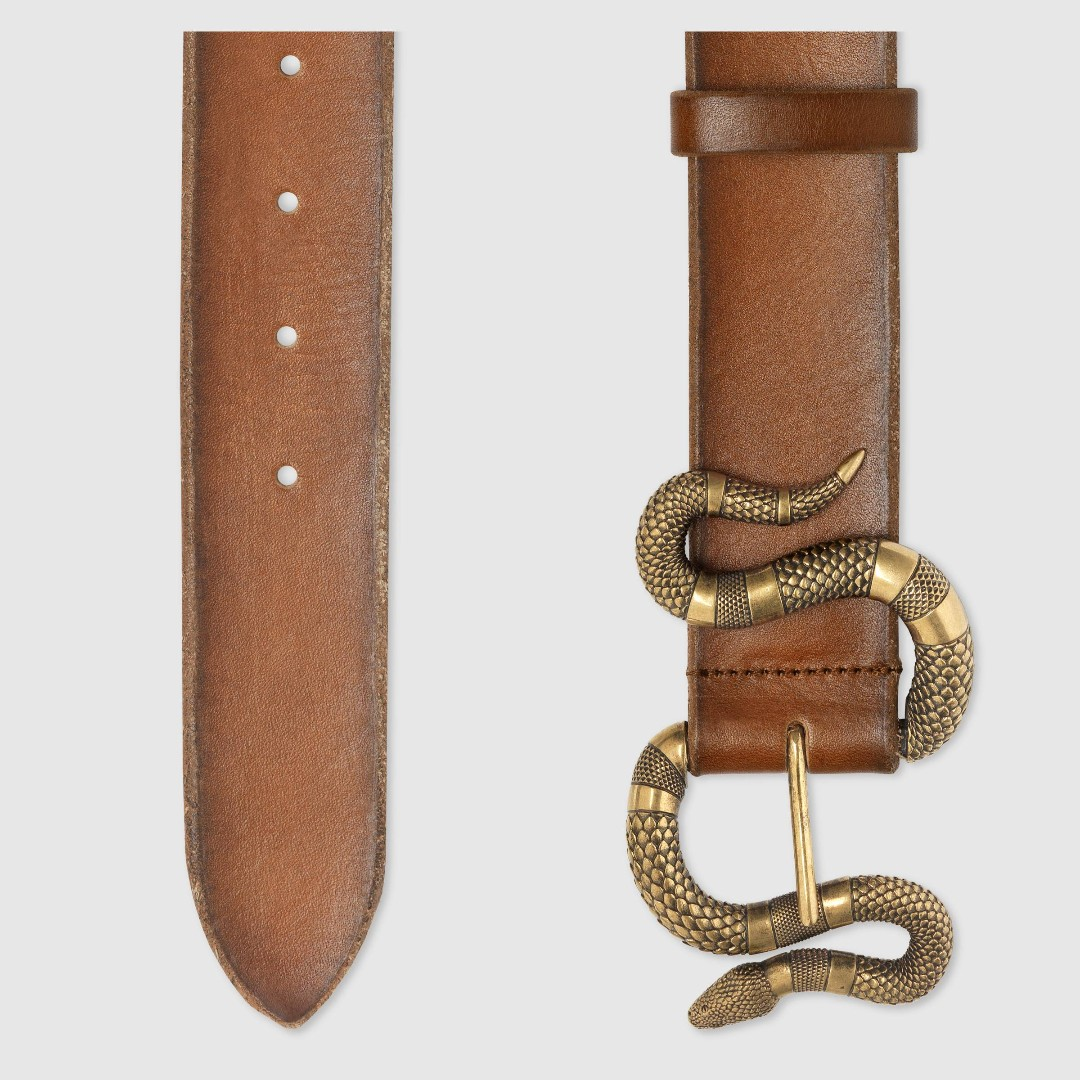 598588bc583 Cuir Leather belt with snake buckle