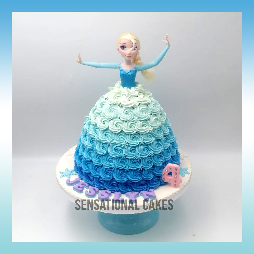 Frozen Elsa Rosette Ombre Blue Cream Art Cake Design Singaporecake