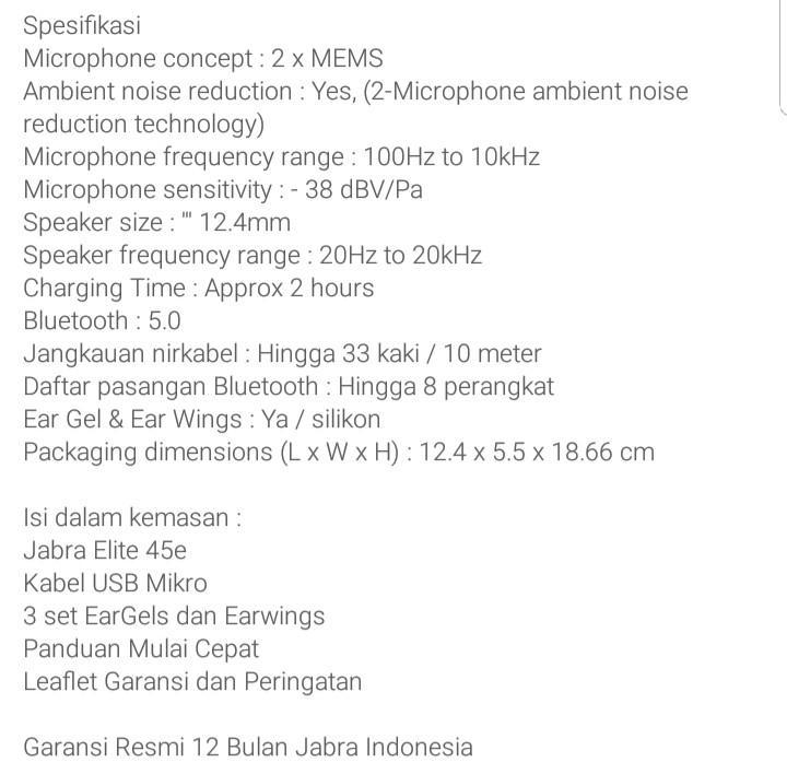 Jabra Elite E45 wireless earphone