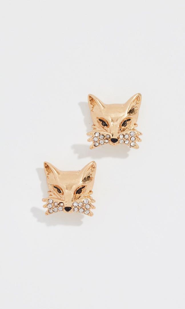 e11c5e1640b66 Kate Spade Clear/Gold Fox Stud Earrings