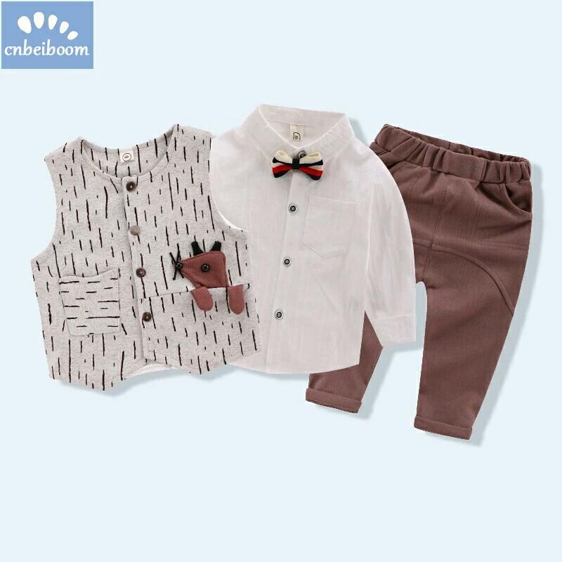 ac04d2ea1694 kids Boy clothing sets baby tie bow shirt vest pant 3pcs set mouse ...