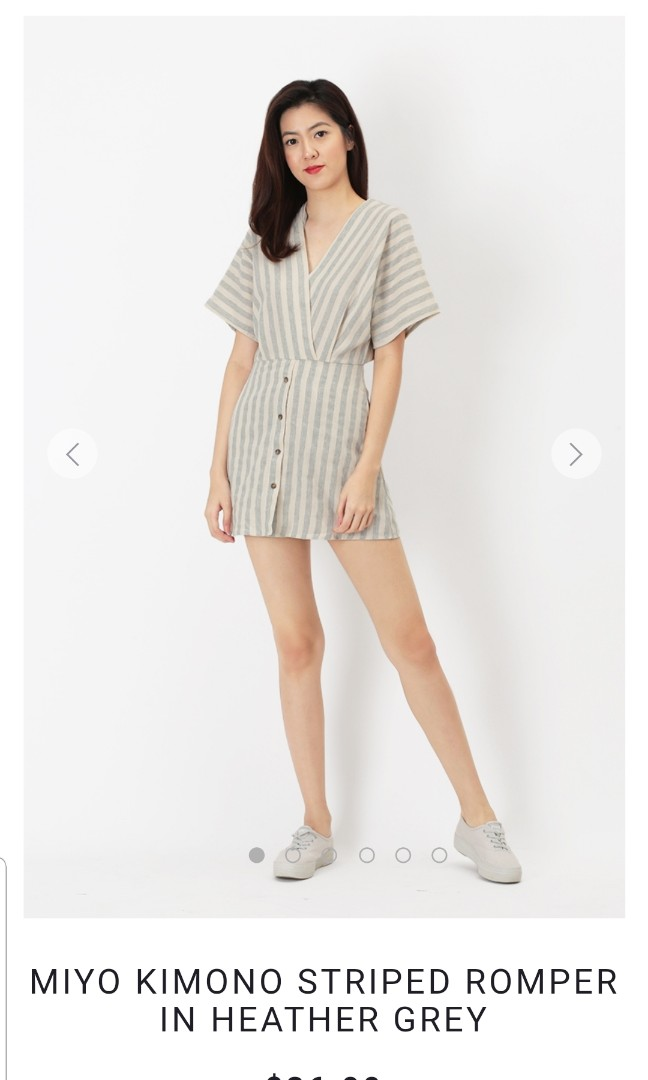 e48708d665c6 AFORARCADE MIYO KIMONO STRIPED ROMPER IN HEATHER GREY IN SIZE L ...
