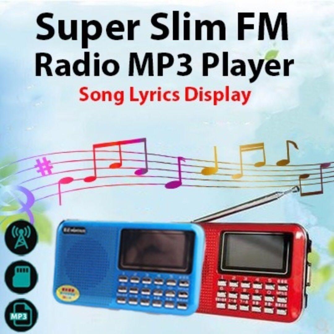 NEW !! F22 Super slim Radio MP3 Player song lyrics display function!