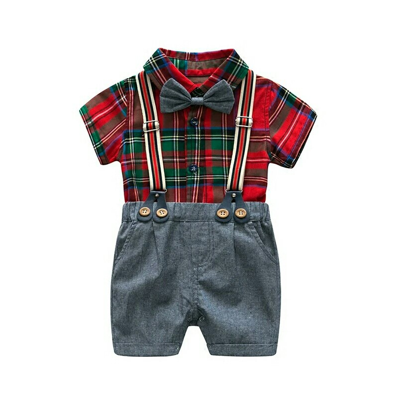 9bb873cfa0d24 Plaid Baby Boy Clothes Summer 2018 Newborn Children Clothes Set Cotton  Short Sleeves Shirt+Short Pants Infant Clothes Set Red