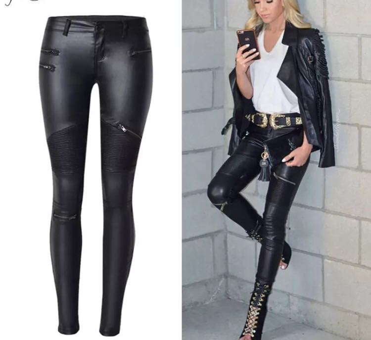 5cee70cbd6ba7 PO) 34-44 2018 Winter White Women PU Leather Pants Big Plus Size ...