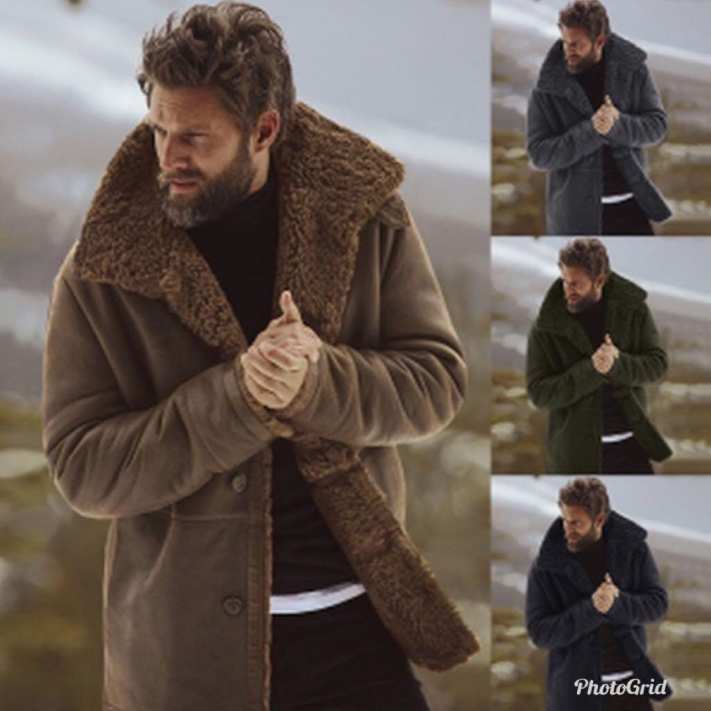 df44601b89d PO  Men s Stylish Fur Collar (Winter Coat   Trench Coat)