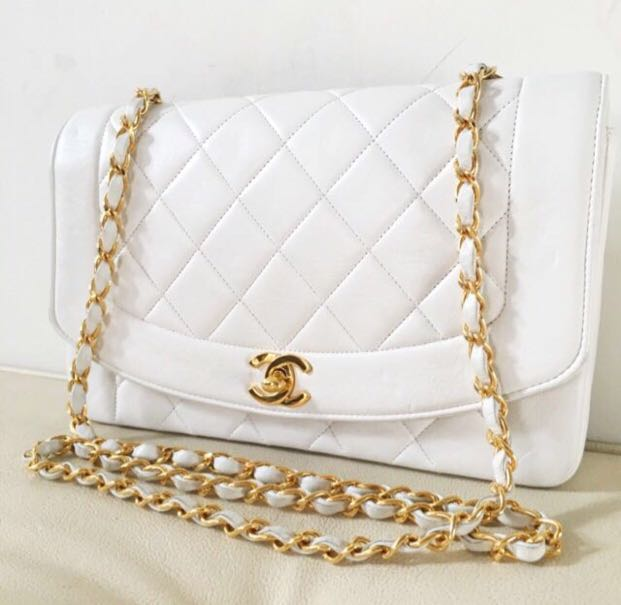 8335fb162fcc Rare Chanel 10 Inch Diana Flap in White Lambskin and 24K Gold ...