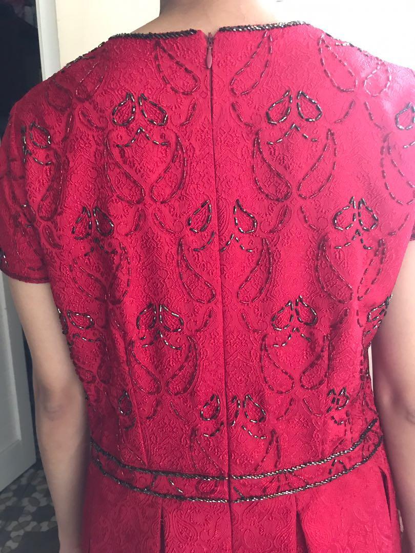 red dress + payet