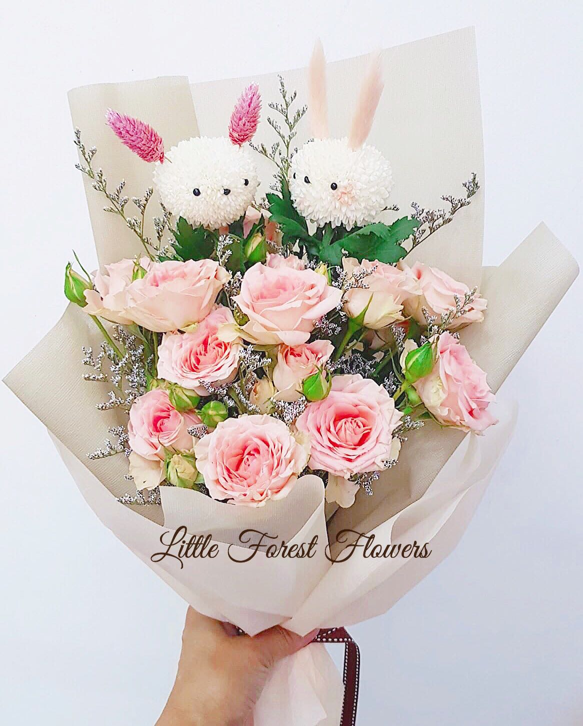 Roses & Pom Pom Bunnies Bouquet - Fresh Flower Bouquet, Gardening, Flowers & Bouquets on Carousell