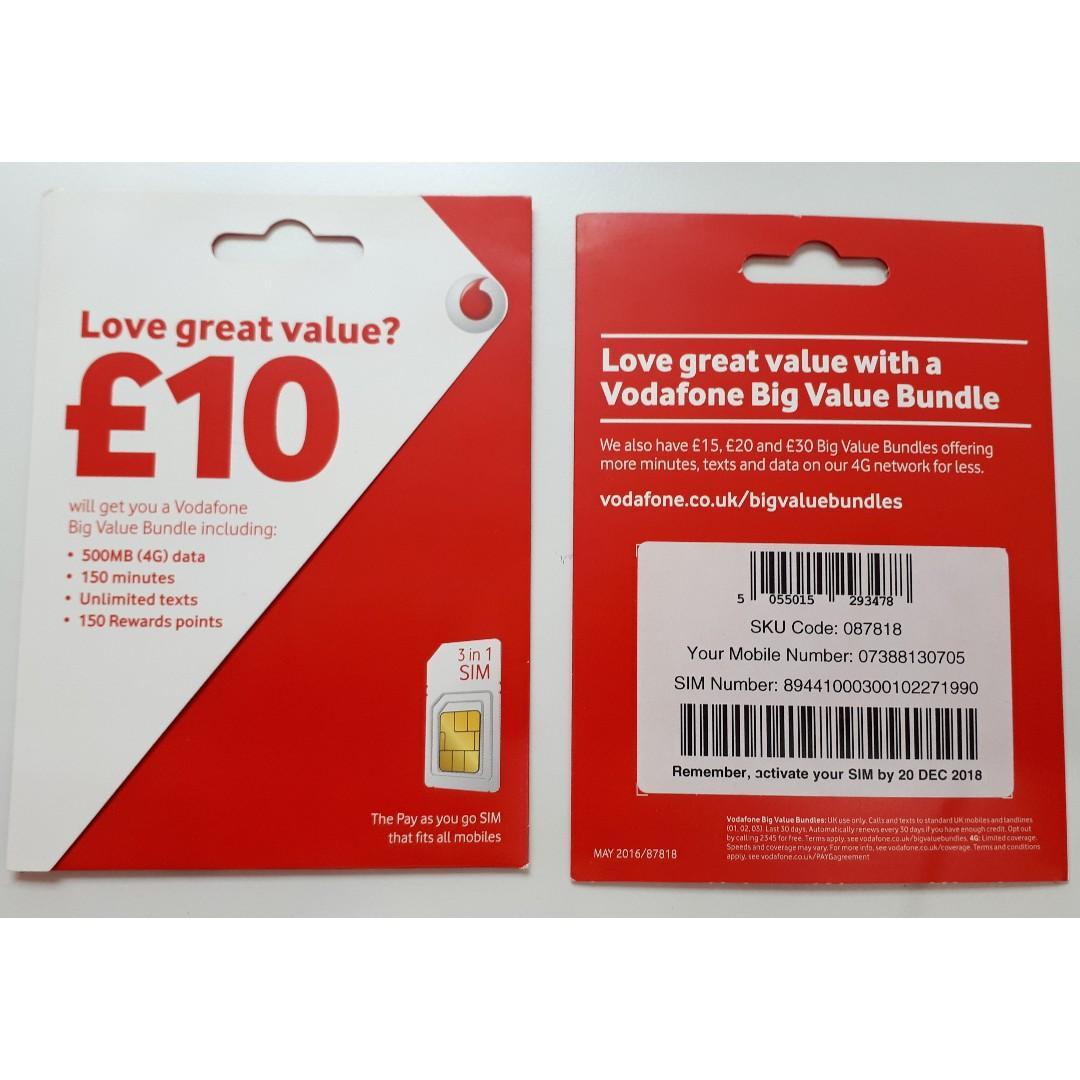 UK / Europe prepaid SIM card - Vodafone, Mobile Phones