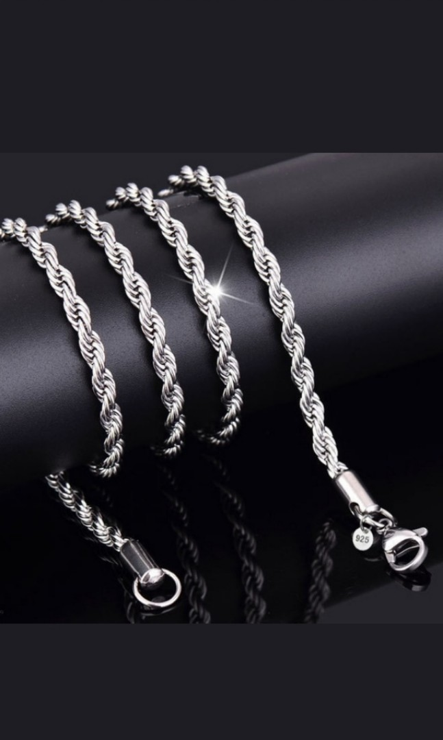 d4a1a0d294f16 Unisex 4mm S925 Plated Twisted Rope Chain Necklace.