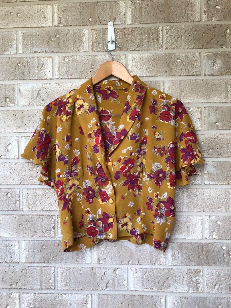 Vintage mustard flowers crop blouse M