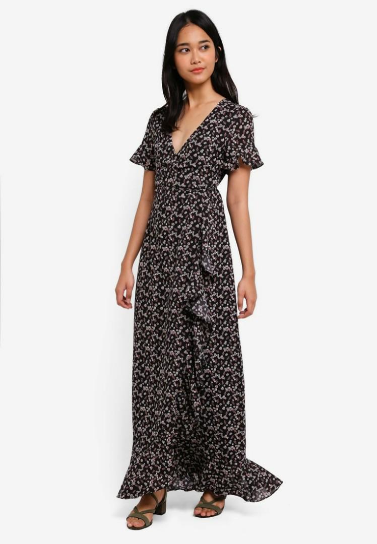 4b3ad69ceb3fd Zalora Something borrowed black ruffle floral wrap dress maxi midi ...