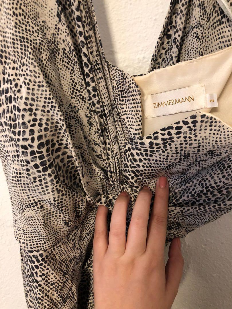 Zimmermann silk drape one shoulder snakeskin dress size 2