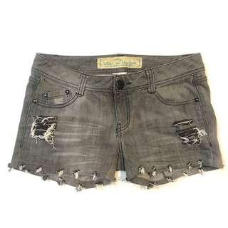 Grey Ripped Denim Short Jeans