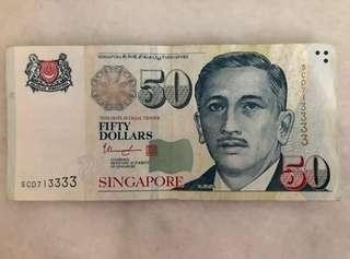 3333 Lucky Note $50
