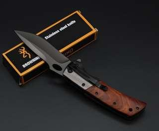 Browning DA62 YARIM Titanium Tactical Folding Knife 3Cr13Mov 55HRC Wood Handle Hunting Survival Pocket Rescue Utility EDC Tools Collection