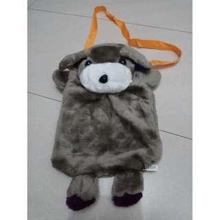 BN Grey Furry Puppy Sling Bag