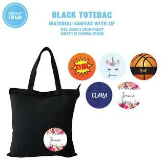 Zipped tote bag with custom name - gift for kids children - limited quantity