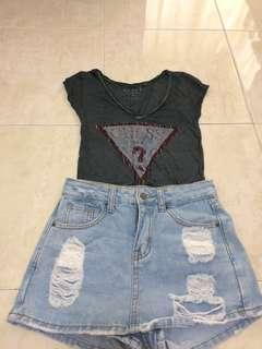 Guess top with short skirt jeans
