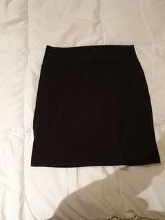 Black mini body con skirt