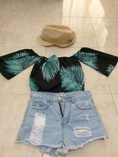Top, Short jeans and hat in set
