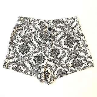 Tribal Black & White High Waisted Hot Pant Shorts