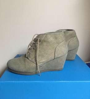 Canvas Lace Up Wedges