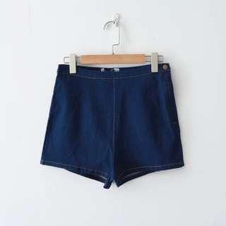 🚚 Po: dark denim side zip and button highwaisted shorts