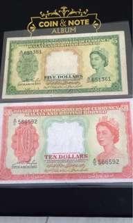 1953 Queen note $5, $10