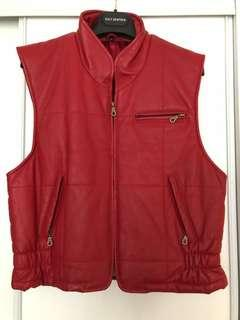 Red Leather Vest Size 38
