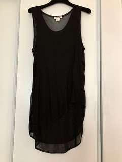 Helmut Lang Black Double layer assymetical long tank SMALL