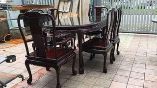 Antique Rose wood dining table set