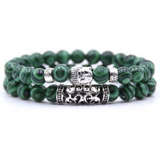 Unisex 2 piece Buddha beaded bracelet set