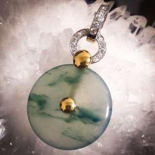 18K Gold Diamond Icy Floating Flower Jadeite Pendant (Grade A) (With Cert)
