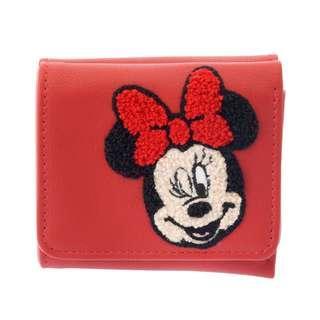 🌟日本Disney store直送🌟米妮 Minnie 公仔 pu皮 針織 三摺短銀包