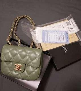 Authentic Chanel Mini Classic Lambskin Pastel Green
