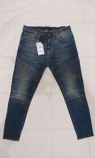 Zara Skinny Blue Washed Biker Jeans Original size 34