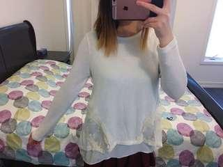 White lace detailing sweater