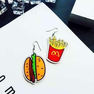 🚚 Po: fast food acrylic hook earrings