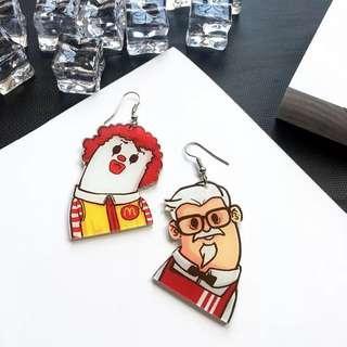 🚚 Po: acrylic kfc and macdonalds hook earrings