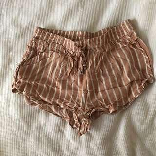Baby Pink and White Stripe Shorts